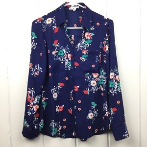 Express Navy Button Down, Poppy Floral Pattern S